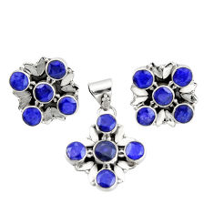 14.45cts natural blue sapphire 925 sterling silver pendant earrings set r20931
