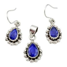 5.75cts natural blue sapphire 925 sterling silver pendant earrings set r27393