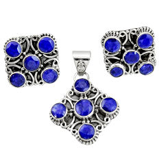 13.22cts natural blue sapphire round 925 silver pendant earrings set r20927