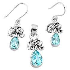 7.07cts natural blue topaz 925 silver elephant pendant earrings set r55761