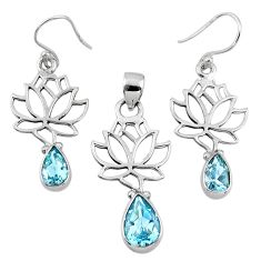 6.89cts natural blue topaz 925 silver tree of life pendant earrings set r55764