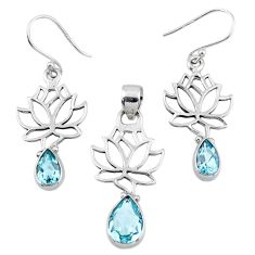 6.88cts natural blue topaz 925 silver tree of life pendant earrings set r55767