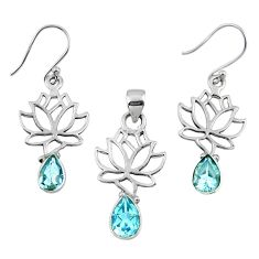 6.89cts natural blue topaz 925 silver tree of life pendant earrings set r55768