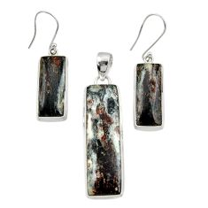 47.68cts natural bronze astrophyllite 925 silver pendant earrings set d44484