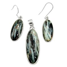 43.93cts natural bronze astrophyllite 925 silver pendant earrings set d44486