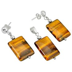 Natural brown tiger's eye 925 silver pendant earrings set c21039