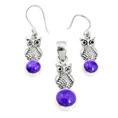5.83cts natural charoite (siberian) 925 silver owl pendant earrings set r69983