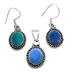 Clearance Sale- 6.57cts natural doublet opal australian 925 silver pendant earrings set d44496