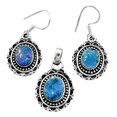 7.77cts natural doublet opal australian 925 silver pendant earrings set d44497