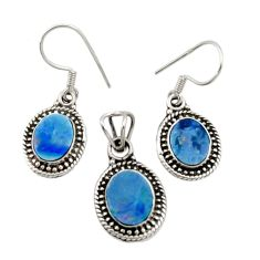 7.78cts natural doublet opal australian 925 silver pendant earrings set d44504