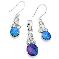 5.97cts natural doublet opal australian 925 silver pendant earrings set r69941