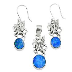 8.23cts natural doublet opal australian 925 silver pendant earrings set r69948