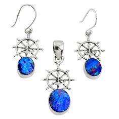 5.52cts natural doublet opal australian 925 silver pendant earrings set r69953