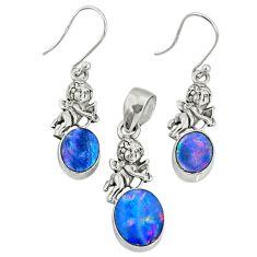 6.02cts natural doublet opal australian 925 silver pendant earrings set r69963
