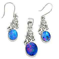 6.17cts natural doublet opal australian 925 silver pendant earrings set r69965
