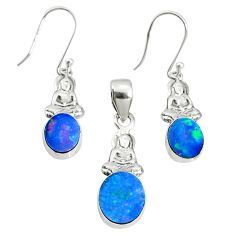 5.75cts natural doublet opal australian 925 silver pendant earrings set r69967