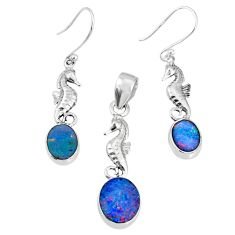 6.80cts natural doublet opal australian 925 silver pendant earrings set r69971