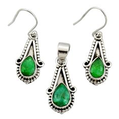 5.95cts natural green emerald 925 silver pendant earrings set jewelry r27395
