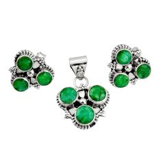8.83cts natural green emerald 925 sterling silver pendant earrings set r20969