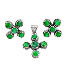 13.03cts natural green emerald 925 sterling silver pendant earrings set r20970