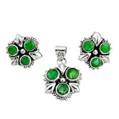 8.13cts natural green emerald 925 sterling silver pendant earrings set r20972