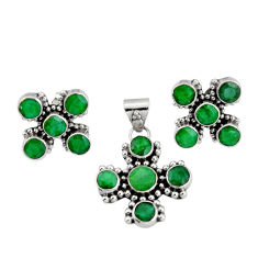 13.22cts natural green emerald 925 sterling silver pendant earrings set r20973