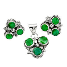 9.64cts natural green emerald 925 sterling silver pendant earrings set r20974