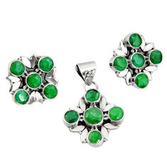 13.82cts natural green emerald 925 sterling silver pendant earrings set r20976