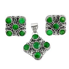 14.92cts natural green emerald 925 sterling silver pendant earrings set r20977