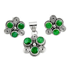 8.87cts natural green emerald 925 sterling silver pendant earrings set r20978