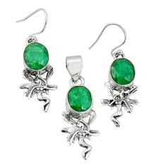10.74cts natural green emerald 925 sterling silver pendant earrings set r20992