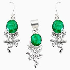 12.39cts natural green emerald 925 silver handmade pendant earrings set r73009