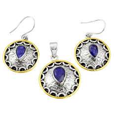 6.63cts natural lapis lazuli 925 silver two tone pendant earrings set r20987