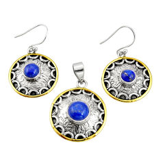 5.69cts natural lapis lazuli 925 silver two tone pendant earrings set r20990