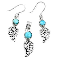 2.52cts natural larimar 925 silver deltoid leaf pendant earrings set r55779