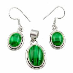 13.04cts natural malachite (pilot's stone) silver pendant earrings set d44507