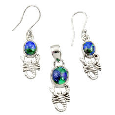 Natural malachite in chrysocolla 925 silver scorpion pendant earrings set d44509