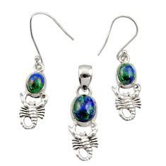 Natural malachite in chrysocolla silver scorpion pendant earrings set d44508