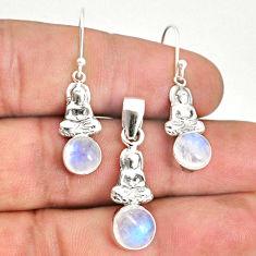 7.12cts natural moonstone 925 silver buddha charm pendant earrings set r70257