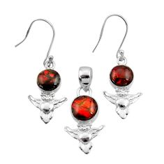 Clearance Sale- 9.39cts natural multi color ammolite 925 silver owl pendant earrings set d44499