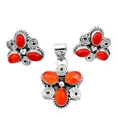Clearance Sale- 9.56cts natural orange cornelian (carnelian) silver pendant earrings set d44425