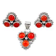 8.32cts natural orange cornelian (carnelian) silver pendant earrings set d44436