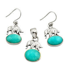 11.54cts natural peruvian amazonite silver elephant pendant earrings set r26572