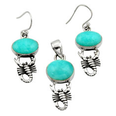 11.30cts natural peruvian amazonite silver scorpion pendant earrings set r26576