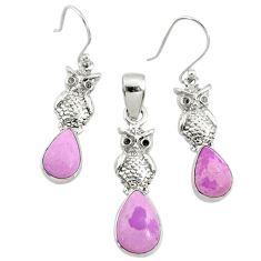 7.02cts natural phosphosiderite (hope stone) silver pendant earrings set r70003