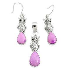 7.23cts natural phosphosiderite (hope stone) silver pendant earrings set r70004