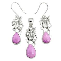 7.62cts natural phosphosiderite (hope stone) silver pendant earrings set r70007