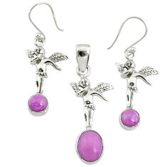6.18cts natural phosphosiderite (hope stone) silver pendant earrings set r70008