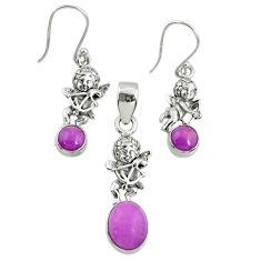6.33cts natural phosphosiderite (hope stone) silver pendant earrings set r70010