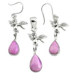 6.98cts natural phosphosiderite (hope stone) silver pendant earrings set r70014